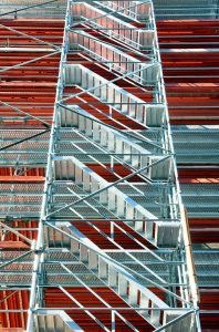 stair tower for scaffolding access. stair towers are safer than scaffold ladders.