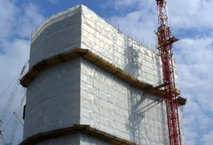 Weather Barrier, scaffold sheeting, scaffold mesh, debris netting for scaffolding