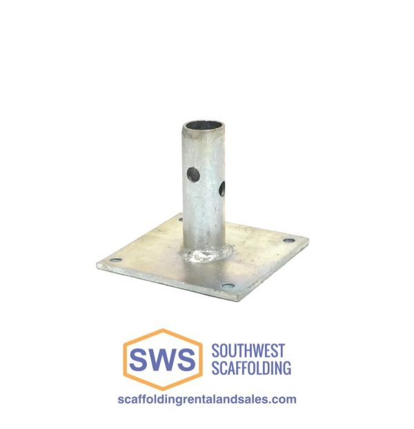 Base plate for scaffolding. Southwest Scaffolding sells and rents scaffolding, boards and accessories with nationwide delivery.
