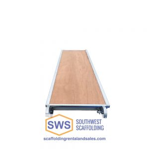 Aluminum scaffold plank with plywood insert