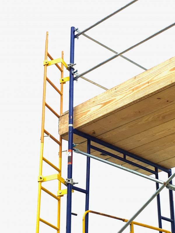 scaffold ladder attached to frames via bolt-on ladder bracket. Southwest scaffolding sells scaffolding, boards and accessories nationwide.
