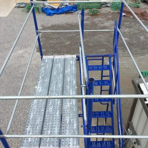 Scaffolding stair tower with guardrails and steel planks. Southwest scaffolding sells scaffolding, boards and accessories nationwide.
